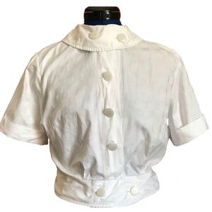 Vintage Shirtwaist Blouse with Button Roll Collar